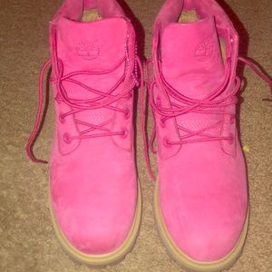 Pink timberlands for girls.